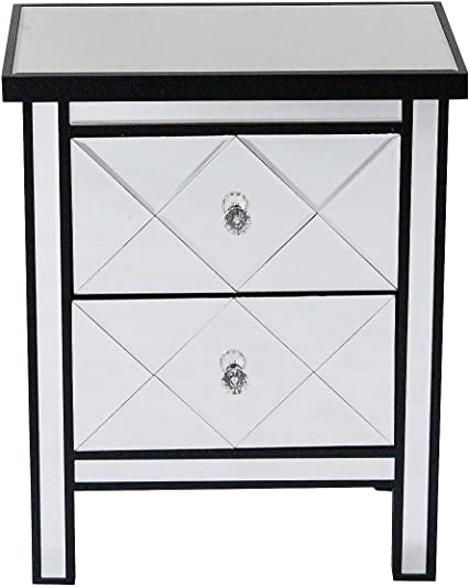 Heather Ann Creations Modern Beveled Mirrored Finished 2 Drawer Accent Chest Nightstand