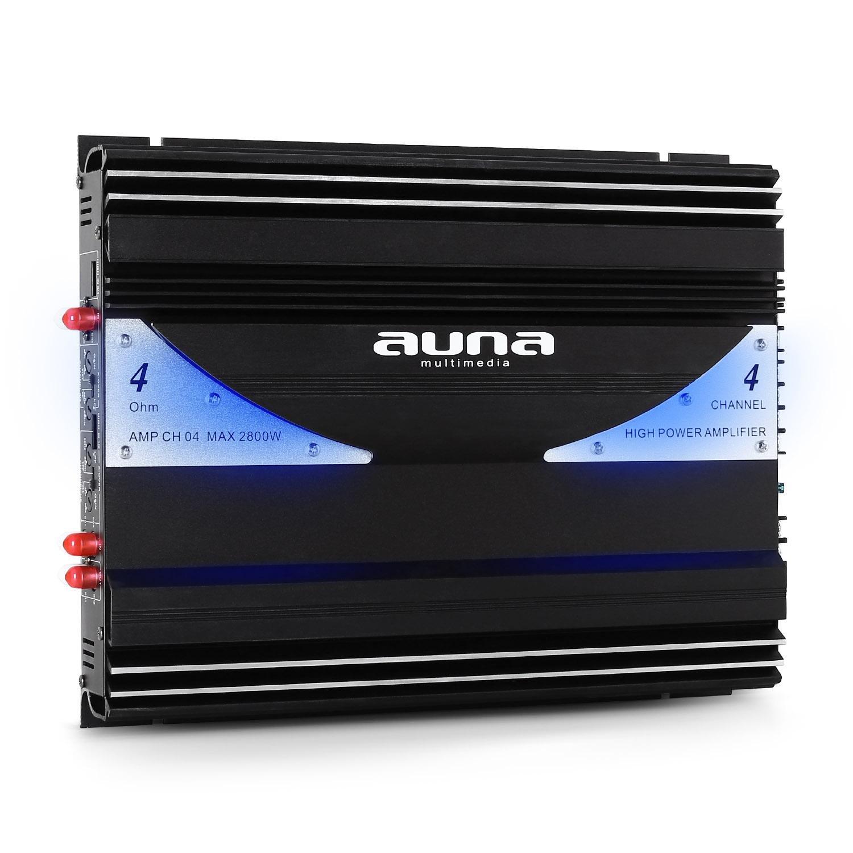 Effet Lumineux int/égr/é electronic star AUNA Black Line 140 Set HiFi Auto Pack Tuning Voiture avec Subwoofer - Noir Ampli et c/âbles