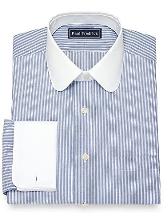 Men's Vintage Style Clothing Paul Fredrick Mens Cotton Textured Stripe Dress Shirt $34.98 AT vintagedancer.com