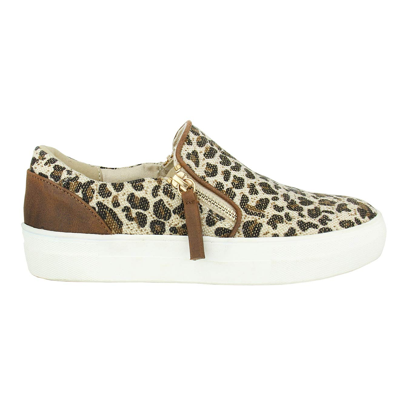 Leopard 7.5 Not Rated Timbre Sneaker with Double Zipper and Animal Print Canvas Sneaker