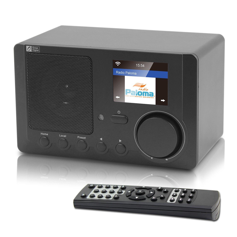 Ocean Digital Internet Radio Wi-Fi Bluetooth Receiver with 2.4'' Color Display Wireless Speaker -Black (WR-210CB)