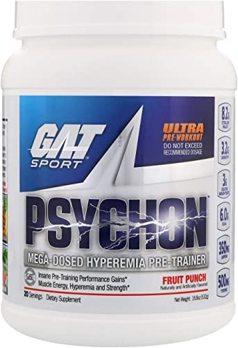 GAT Sport Psychon, Mega-Dosed Hyperemia Pre-Trainer, Fruit Punch, 20 Servings