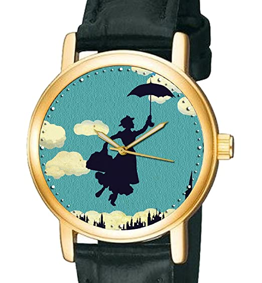 Vintage azul arte coleccionable Mary Poppins Flying paraguas 30 mm reloj de pulsera