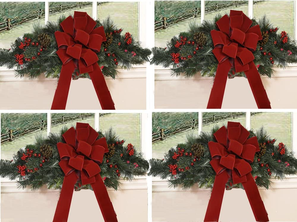 Floral Home Decor Set of 4 Christmas Window Swags with Red Velvet Bows CR1511