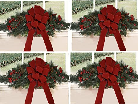 Outdoor Christmas Window Swags.Set Of 4 Christmas Window Swags With Red Velvet Bows Cr1511