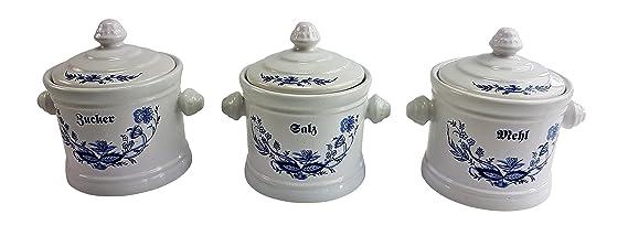 Vorratsdosen Mehl Zucker Salz vorratsdosen set mehl zucker salz zwiebelmuster amazon de küche