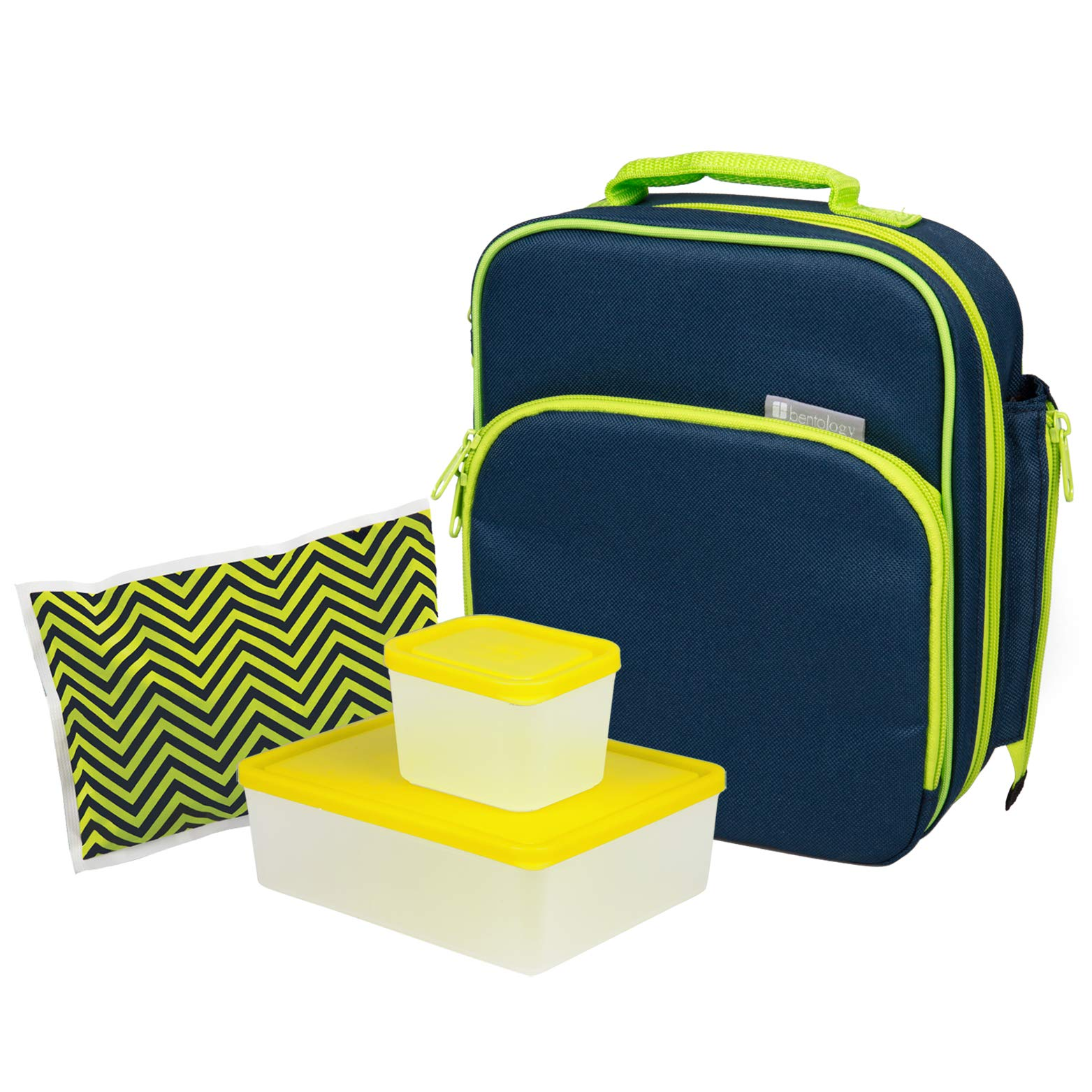 Bentology Lunch Bag and Box Set - Includes Insulated Bag with Handle, Bento Box, 5 Containers and Ice Pack (Night 2 Containers)