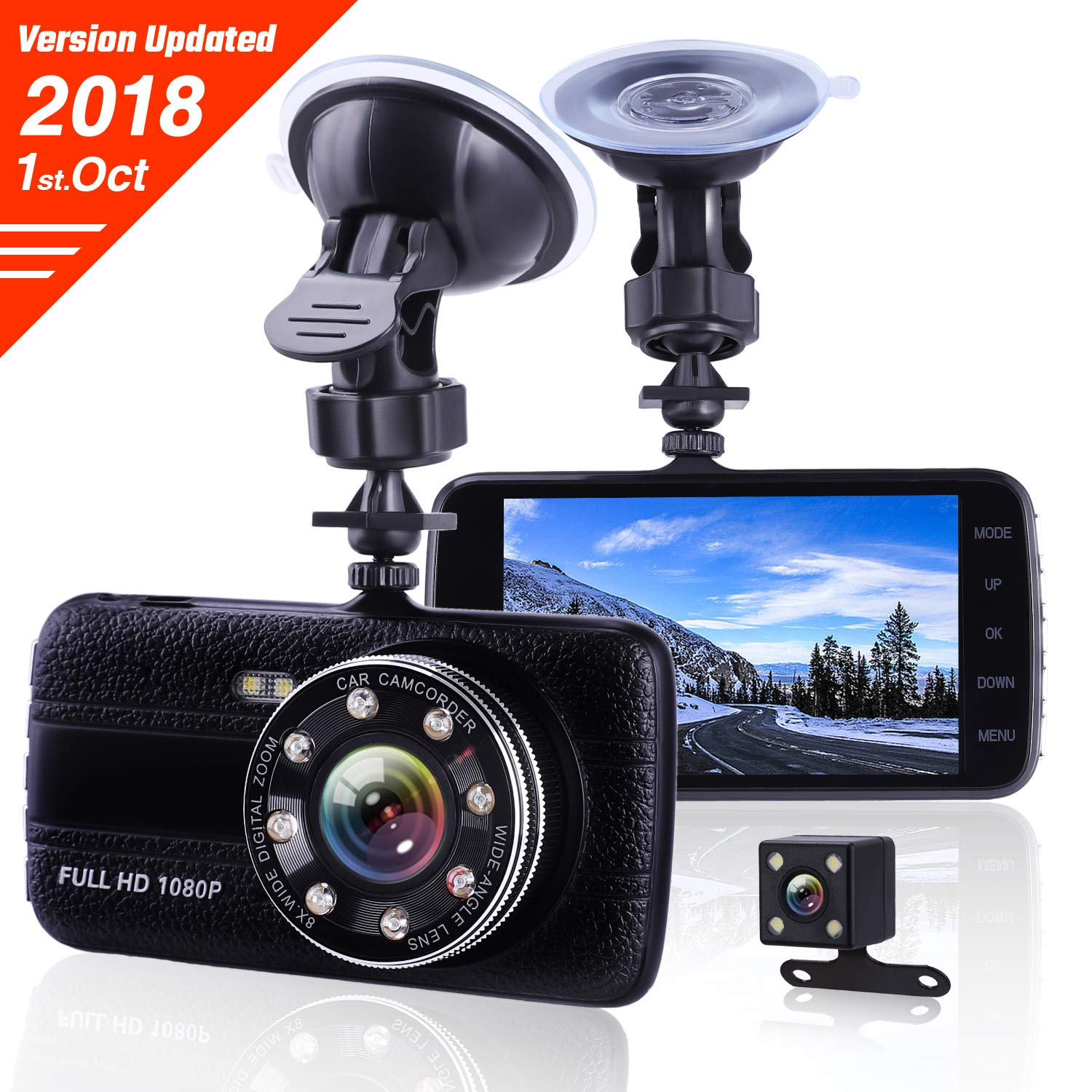 Lamoe EC013 Dash Cam Front And Rear Dual Camera,Superior Night Vision With 8 Lights Dashcams,1080P FHD Dashcam with G-sensor, Loop Recording, Motion Detection, Parking Monitoring, Black, 4inches Car Camera001