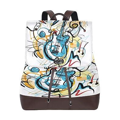 0cd35d17a9ea Amazon.com  Leather Backpack for Women Art Guitar Lady Shoulders Bag ...