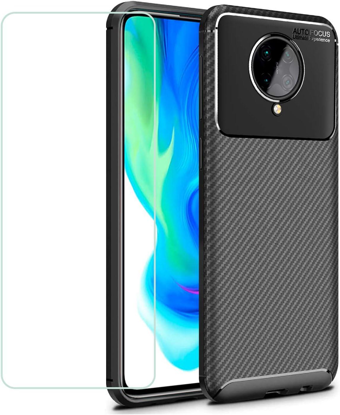 Funda Gel TPU Carbon Xiaomi Poco F2 Pro NEGRA Diseño Fibra Carbono Protector