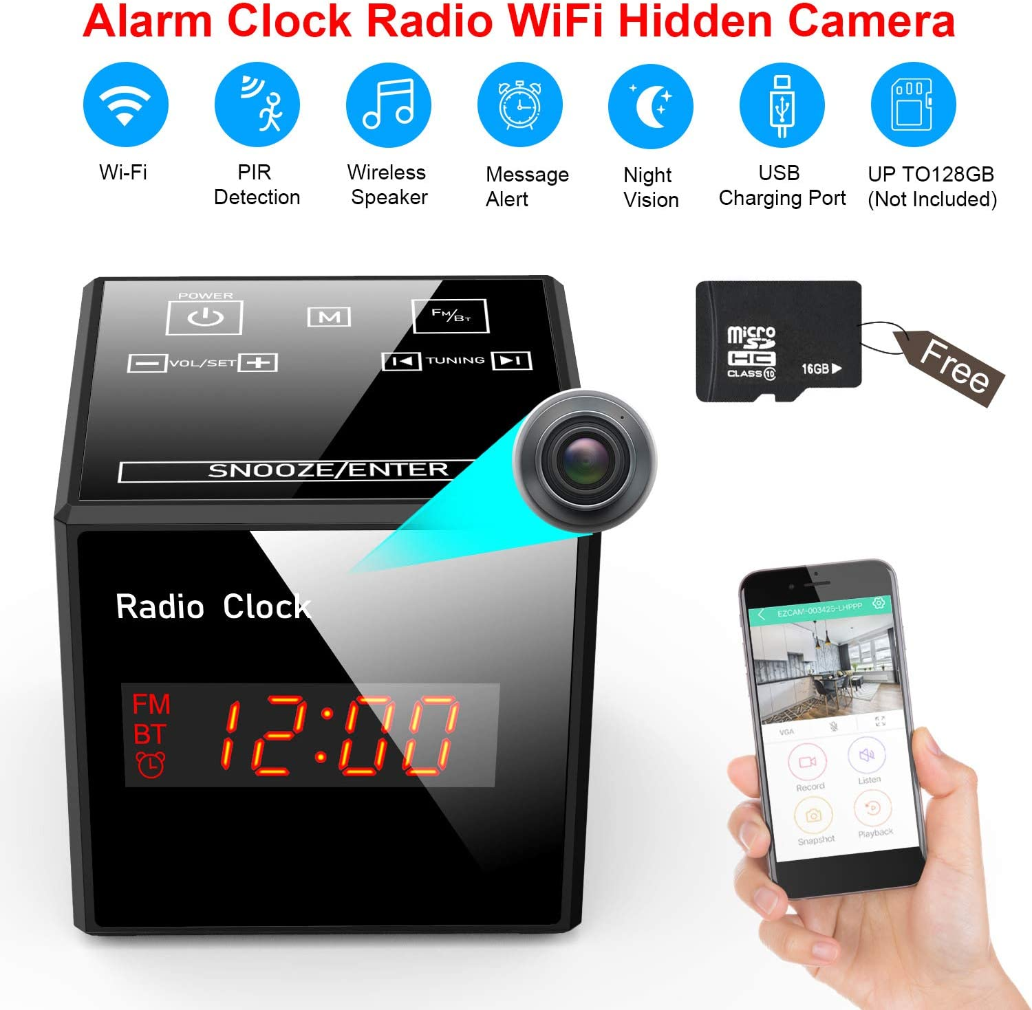 Hidden Camera Clock – Spy Cameras Alarm Clock Radio – Nanny Cams Wireless with Cell Phone APP – HD 960 FM Bluetooth Speaker USB Charging Night Vision Motion Detection 128gb Storage 16GB SD Black