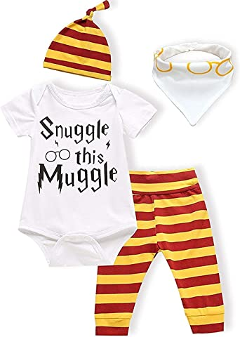 OKlady Baby Boy Girl Clothes Set Snuggle This Muggle Summer 3-4 PCS Outfits Romper Hat Pants Bib