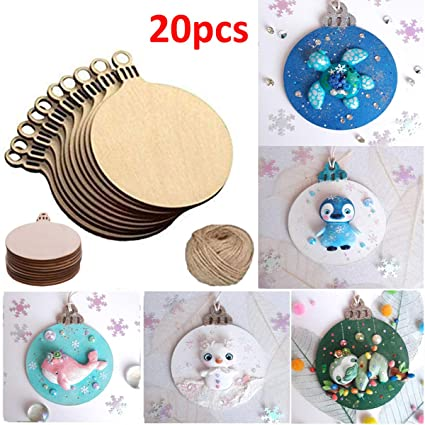 Round Blank Wood Discs Bulk With Holes For Crafts Centerpiecesunfinished Wooden Christmas Tree Blanks Cutouts Ornaments To Paint 20 Pieces
