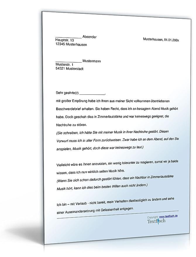 Zurückweisung Beschwerde Lärmbelästigung [PDF Download]: Amazon.de ...