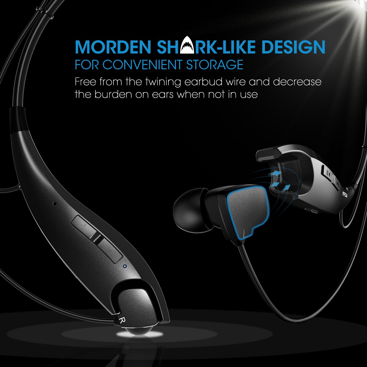 25e9fb0253c Mpow Jaws Gen-3 Bluetooth Headphones Call Vibrate Alert Wireless Neckband  Headset Stereo Noise Reduction Earbuds ...