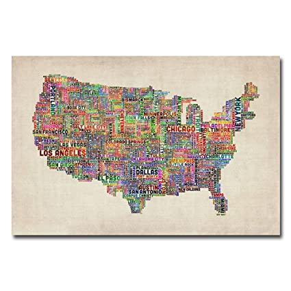Amazon us cities text map vi by michael tompsett 22x32 inch us cities text map vi by michael tompsett 22x32 inch canvas wall art gumiabroncs
