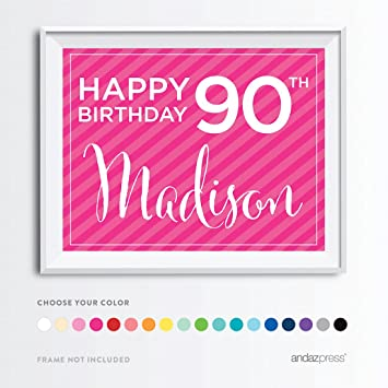 Andaz Press Unframed Personalized Milestone Birthday Wall Art Poster Signs 90th Gifts Decorations