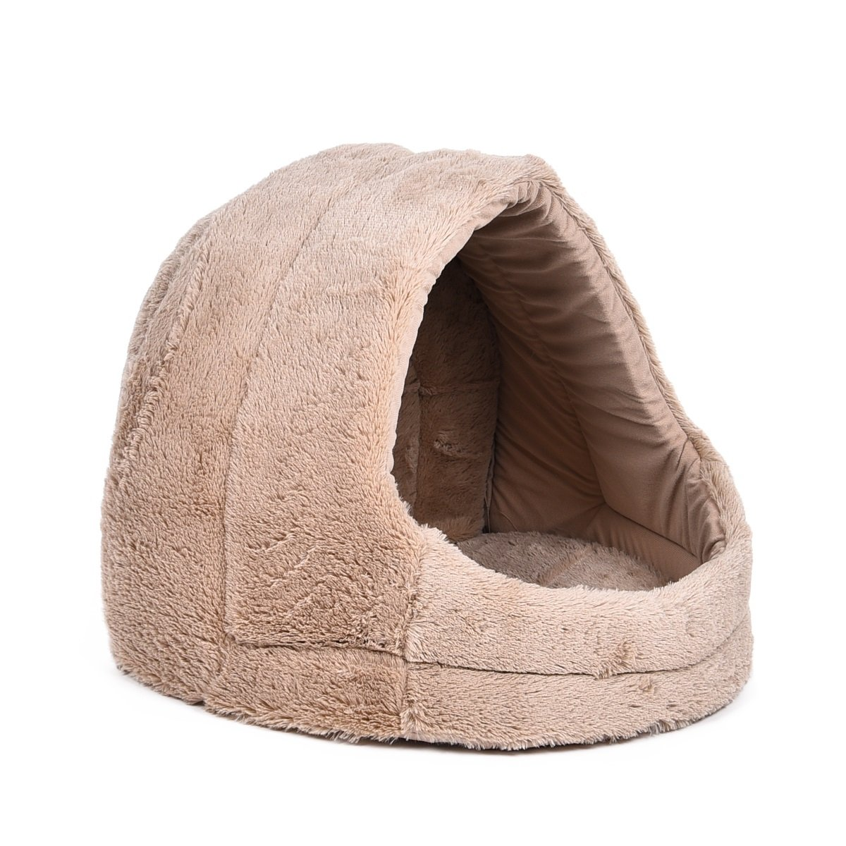 Beige BigShi-AUSPICIOUS Short Plush Covered Dog House Bed Pet Cave Dog Igloo With Removable And Reversible Cushion Bed Et Cushion All Dual Use For Dogs, Cats Rabbits And Small And Medium Sized Animals Super