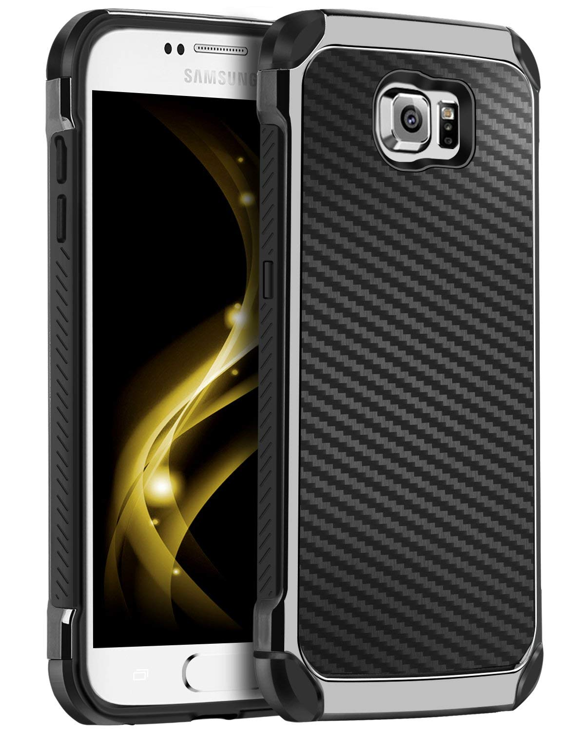 Galaxy S6 Case, S6 Case, BENTOBEN 2 in 1 Cool Slim Hybrid Hard PC Cover Laminated with Carbon Fiber Chrome Anti-Scratch Shockproof Protective Case for Samsung Galaxy S6 (G920), Black