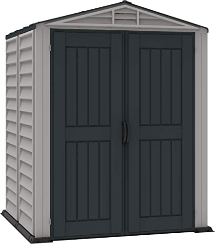 Duramax 35525 Yarmate Plus Outdoor Vinyl Storage Shed, Adobe/Gray