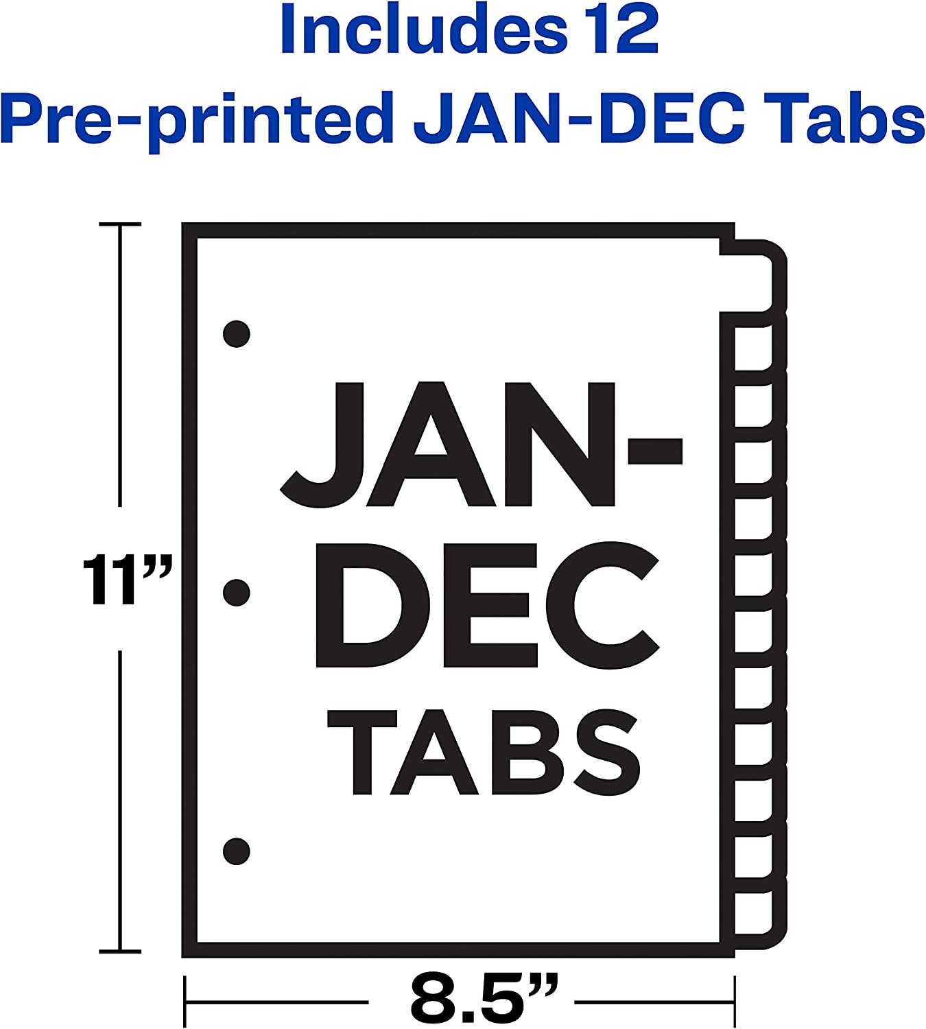 Jan-Dec Buff Letter 12-Tab 12 per Set AVERY Recycled GD Reinforced Preprinted Laminated Tab Dividers 11307