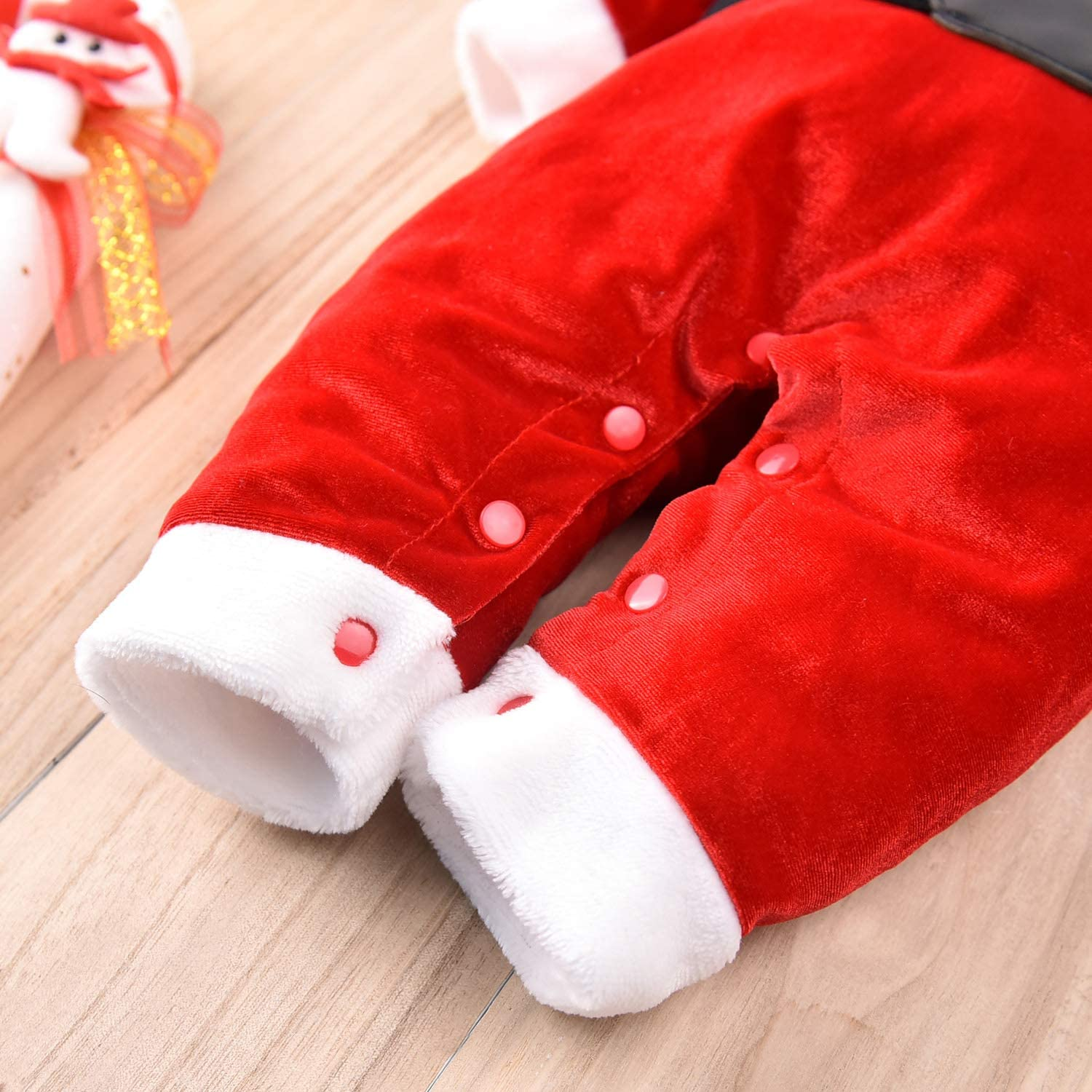 MINIFEIKO Baby Santa Outfit Newborn Boy /& Girl Christmas Outfits Infant Velvet Romper with Long Tail Santa Claus Hat