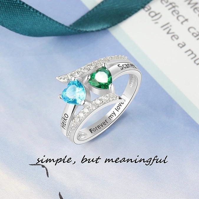 Amazon.com: OPALSTOCK Anillos de promesa personalizados para ...