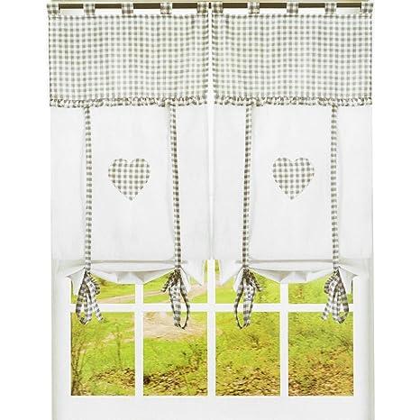 Coppia tendine a vetro Country Cuori per vetri finestra o balcone ...