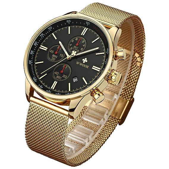 44ecc6602d0e WWOOR Reloj de Pulsera para Hombre Esfera De Cuarzo Negro Acero Inoxidable  Correa Relojes deportivos para