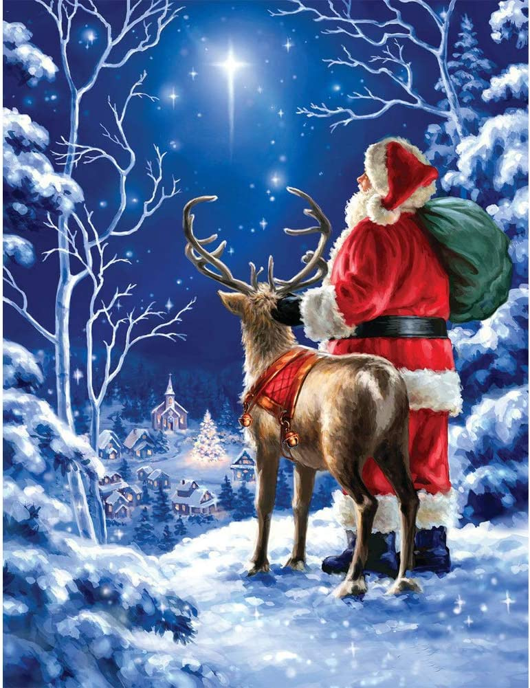JLHATLSQ Full Drill Round Crystal Embroidery Cross Stitch Kits Art for Home Decor 12X16inch DIY 5D Diamond Painting Kit for Adults Father Christmas