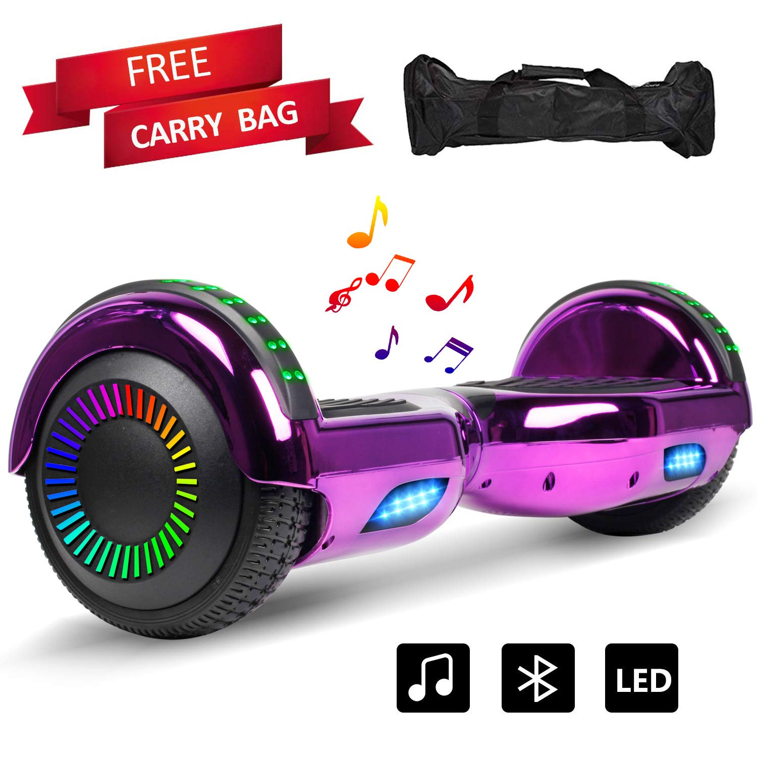 LIEAGLE Hoverboard Self Balancing Scooter Hover Board for Kids Adults with Bluetppth Speaker, SGS Certified and Portable Carrying Bag (Chrome Purple) by LIEAGLE