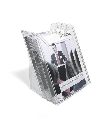 1//3 A4, 1 Fach, f/ür Tisch- und Wandanwendung transparent Durable 859019 Flyerhalter Combiboxx