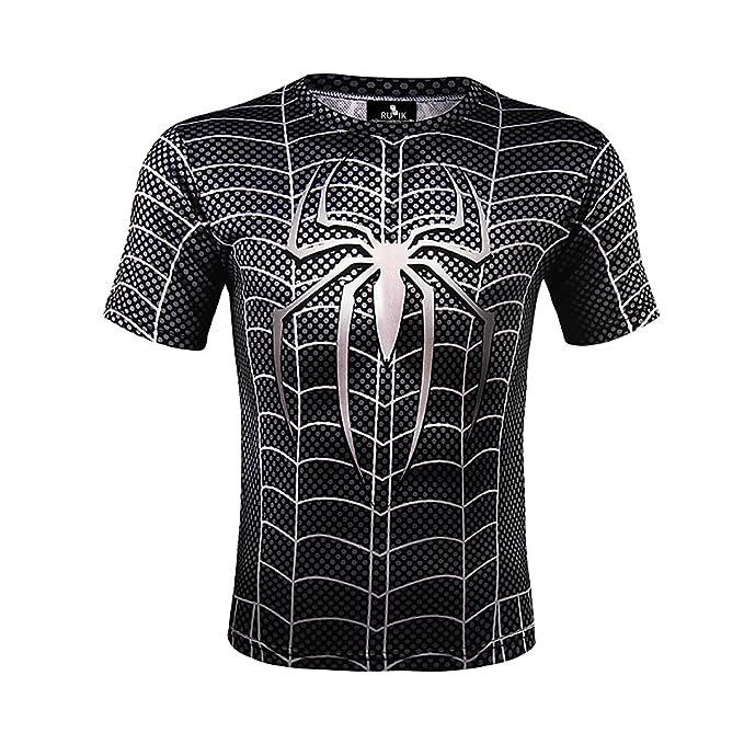 a9a4d6a54d81 Rubik 3D Sublimation Printed Black Spider Man Round Neck T Shirt for Men    Women X