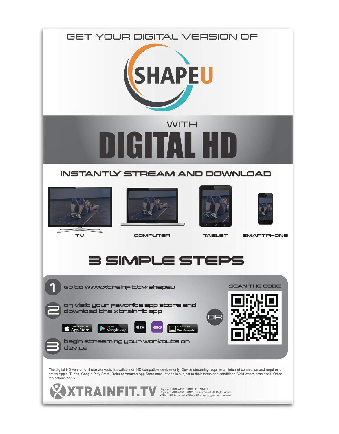 SHAPEU Resistance Loop Band Set Exercise Instruction Guide Plus Bonus Digital Workouts and Workout EBook XTRAINFIT Includes 5 Exercise Loop Bands with Carrying Bag