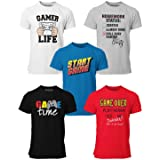 BROOKLYN VERTICAL 5-Pack Boys Video Gamer Gaming Short Sleeve Crew Neck T-Shirt with Chest Print   Soft Cotton Sizes 6-20