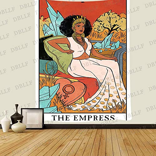 DBLLF Tarot The Empress Tapestry Vintage Style Colored Tarot Devination Theme Tapestry,Queen Size 60 x80 Flannel Art Tapestries,for Living Room Dorm DBZY1732