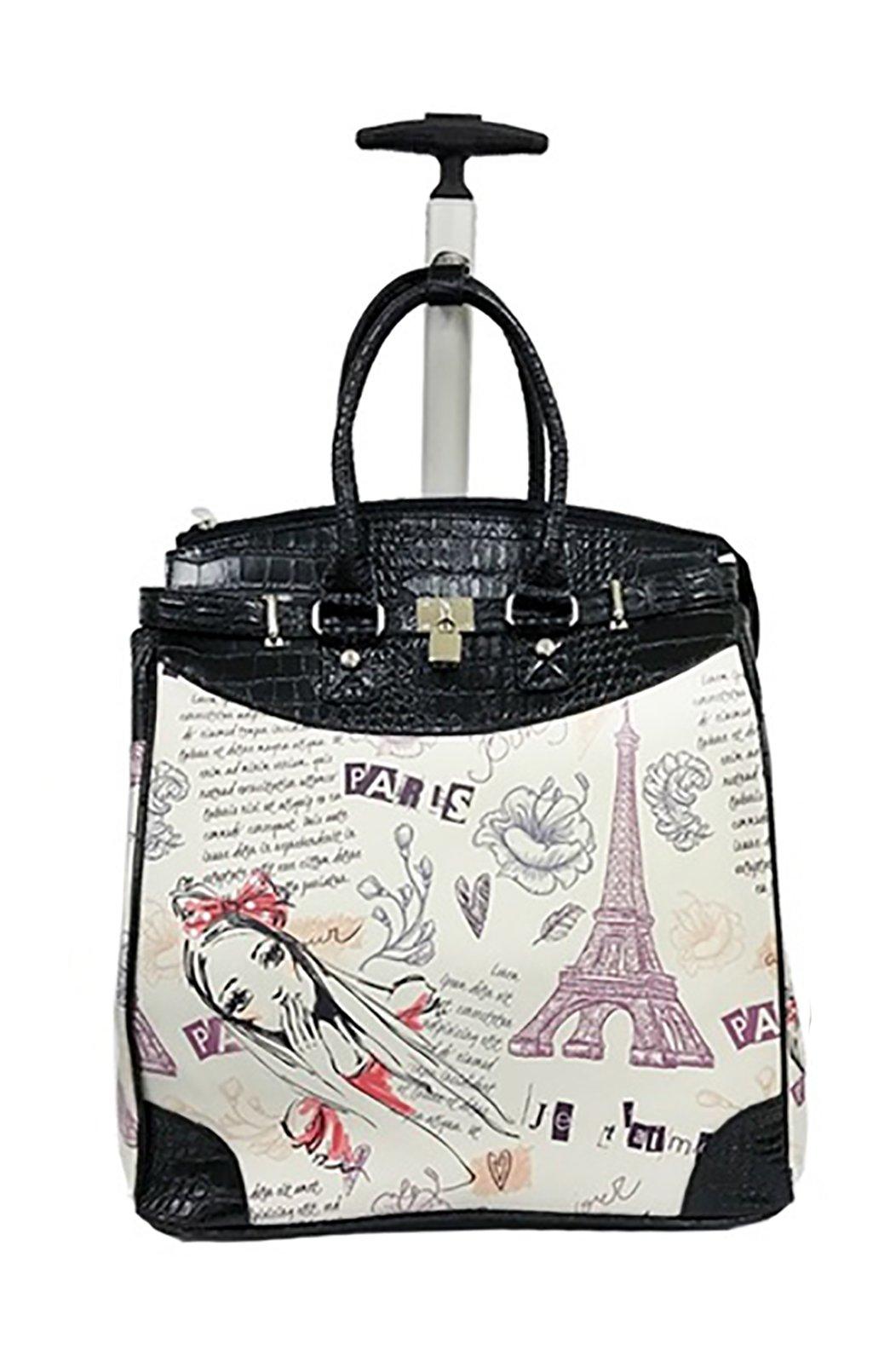 Trendy Flyer 19'' Computer/Laptop Rolling Bag 2 Wheel Case (Eiffel Tower)