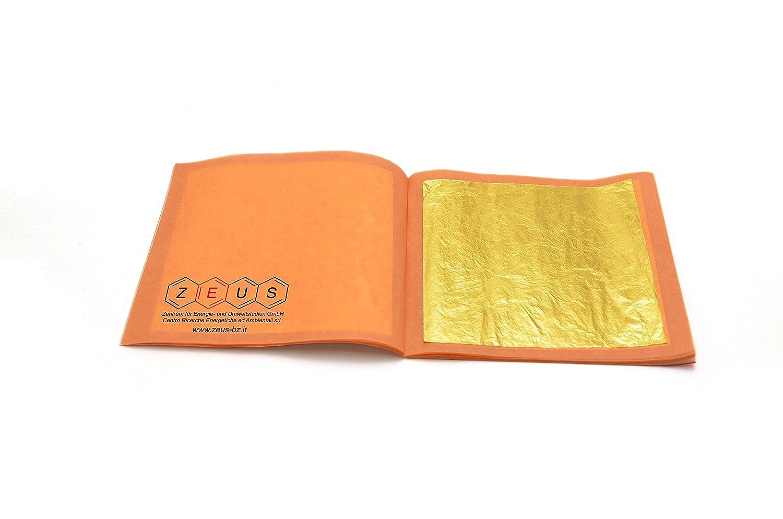 Oro in foglia libera 24 kt libretto da 25 fogli ZEUS 8 x 8 cm