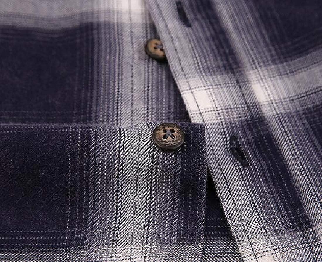 pipigo Men Checkered Casual Short Sleeve Slim Fit Cotton Button Down Dress Work Shirt