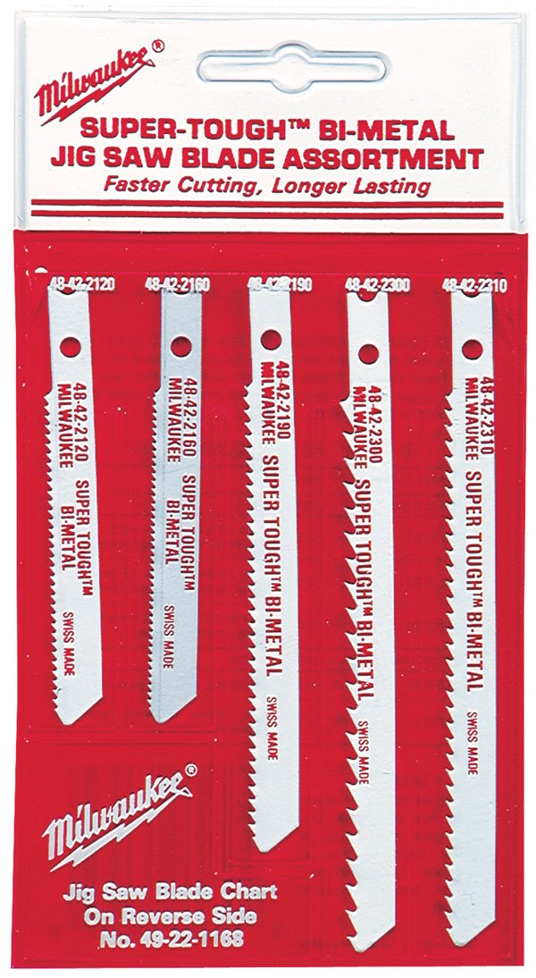 Milwaukee 49-22-1168 Universal Shank Metal/Wood Cutting Jig Saw Blade Assortment, 5-Pack