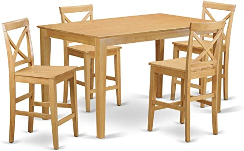 CAPU5H-OAK-W 5 Pc Counter height Table set- gathering Table and 4 counter height chair.