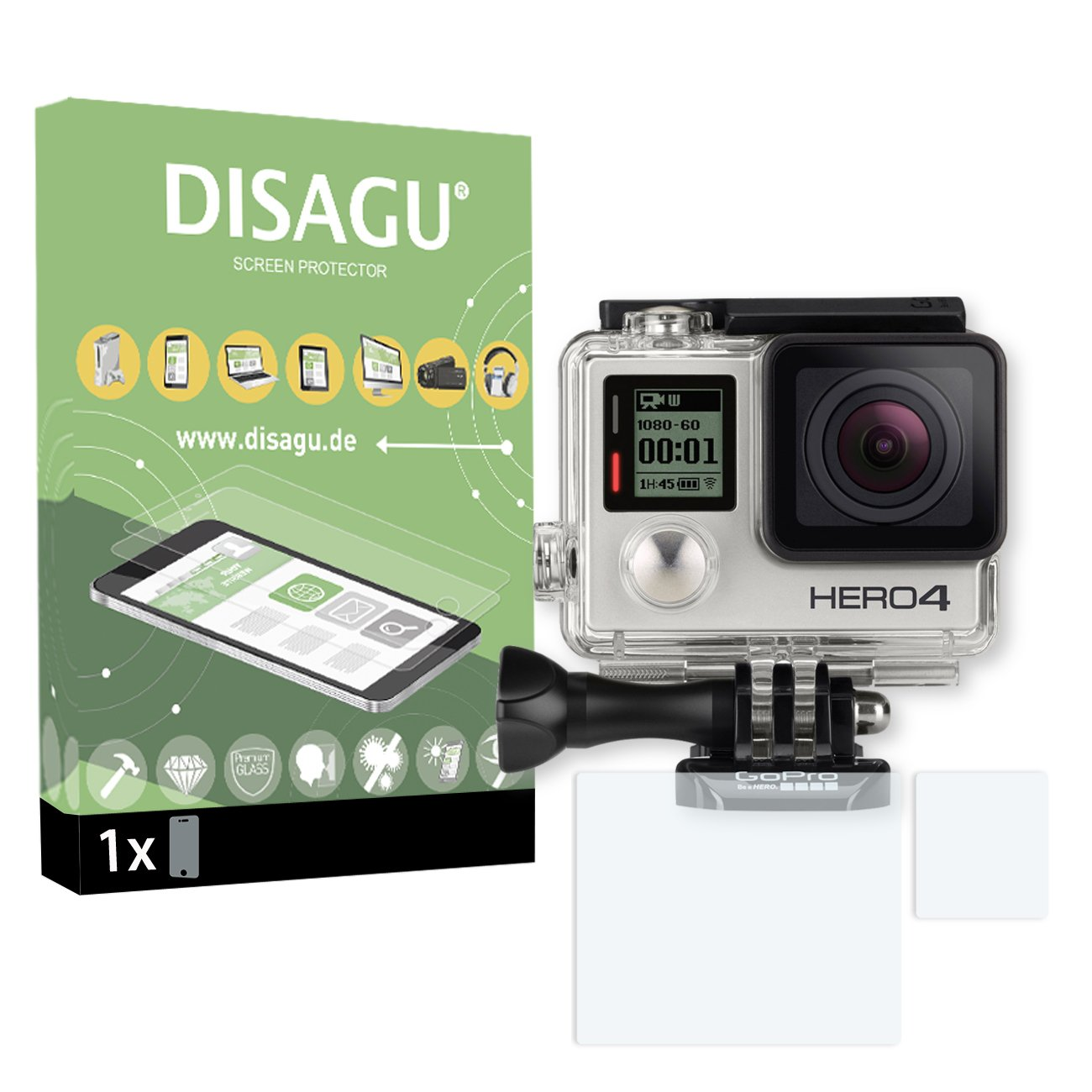 1x DISAGU Flexible Tempered Glass for GoPro Hero 4 Armor Glass 9H Hard Glass Screen Protective Film 3D Compatible #tg7941