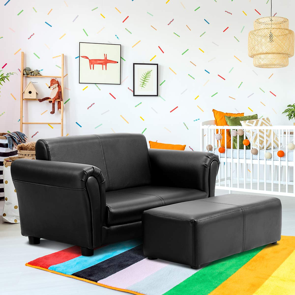 Costzon Kids Sofa Set 2 Seater Armrest Children Couch Lounge w/Footstool, ASTM and CPSIA Certified (Black) by Costzon