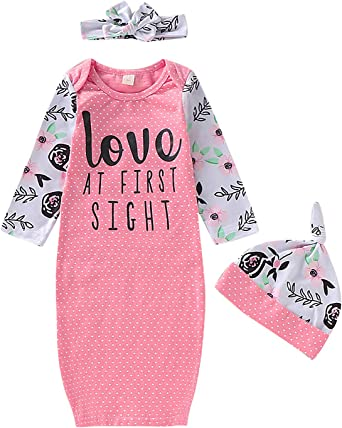 Newborn Baby Girls Swaddle Wrap Blanket Gown Coming Home Love at First time Outfit Nightgown Headband