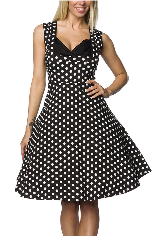 Schwarzes Rockabilly retro Kleid in schwarz mit weißen Punkten mit Reißverschluss Kleid knielang