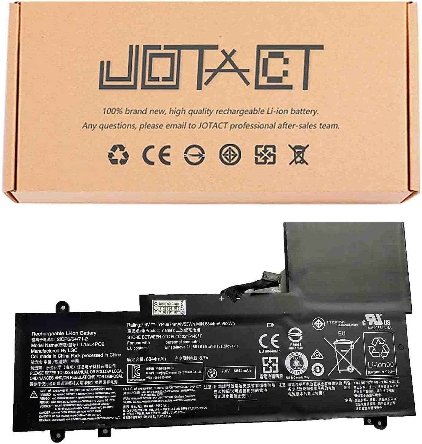 JOTACT L15L4PC2 (7.6V 53W/6974mAh 4-Cell) Laptop Battery Compatible with Lenovo Yoga 710-14IKB 710-14ISK 710-15IKB 710-15ISK Series Notebook 5B10K90802 L15M4PC2 5B10K90778