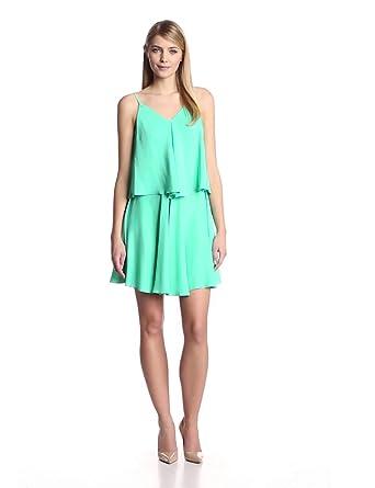 Amanda Uprichard Women's Alana Silk Popover Cami Dress, Mint, Medium