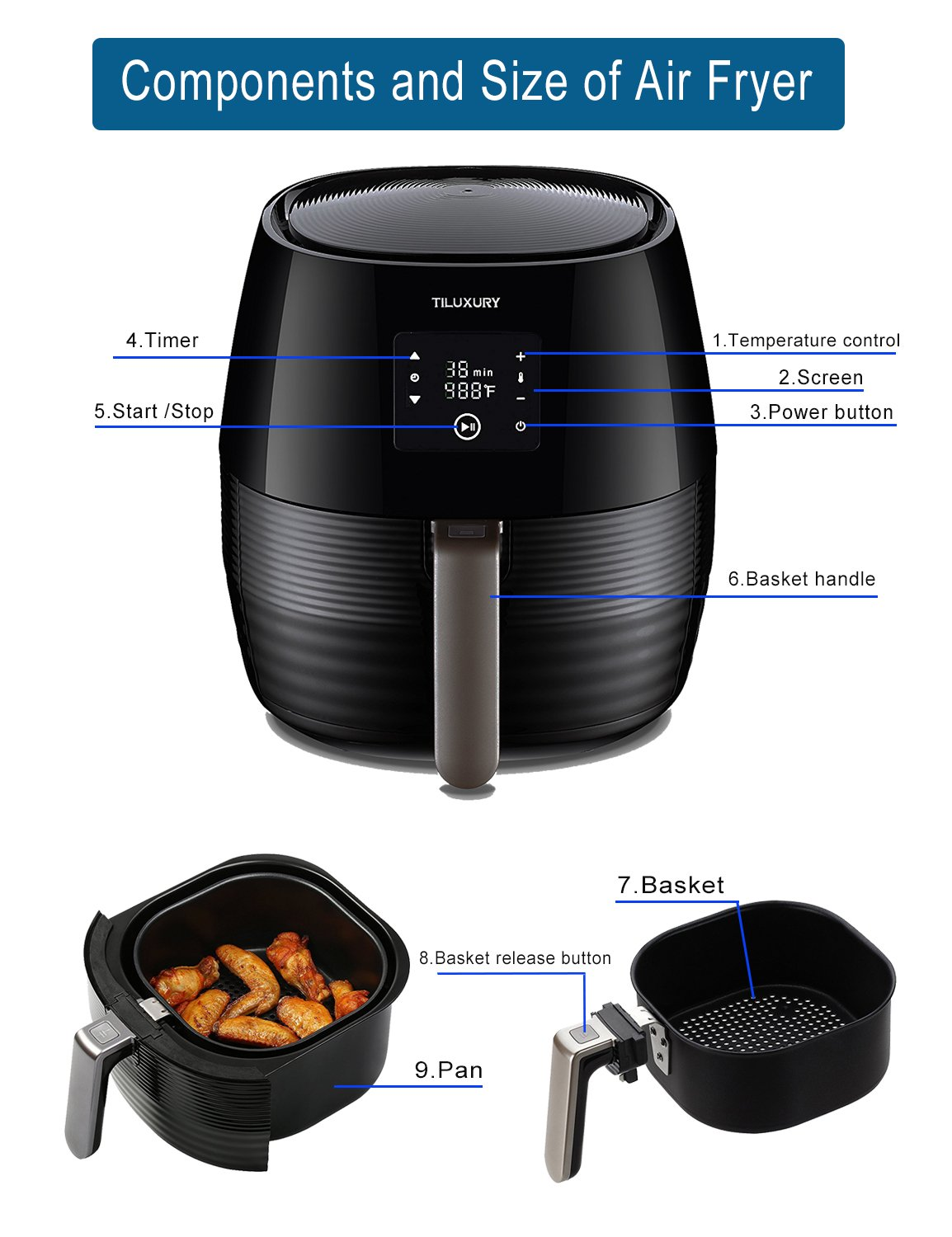 Tiluxury Air Fryer,Electric Air Fryers, Healthy Food Less Fat,Air French Fries,Hot Air Frying Technology Cooker,Digital Touch Screen and Non-Stick Basket,1400W 3.7QT (Black) by Tiluxury (Image #4)