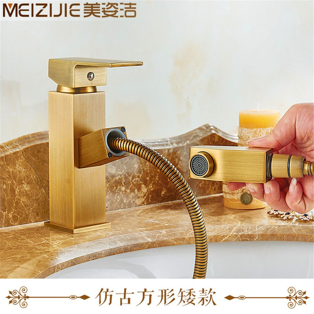 1 Lpophy Bathroom Sink Mixer Taps Faucet Bath Waterfall Cold and Hot Water Tap for Washroom Bathroom and Kitchen Copper Pulling Cold Hot Water Vintage Antique Copper 4