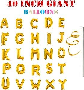 "Rose&Wood 40"" Single Gold Alphabet Letter Balloons Aluminum Hanging Foil Film Balloon Mylar Balloons (40"",Letter A)"